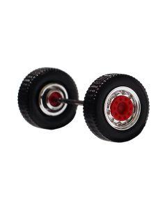 Vorderachse / Aufliegerachse Breitreifen, chrom/rot, 2x