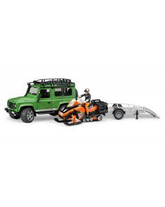 Land Rover Defender Station Wagon mit Snowmobil und Anhänger