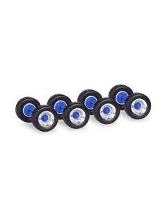 12 Radsätze Breitreifen für Auflieger, chrom/blau