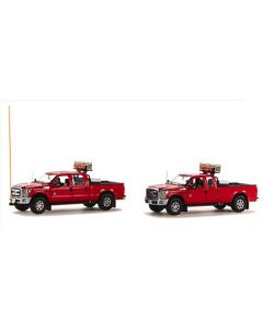 Ford F250 Escort Set in Red - 2 Truck Set