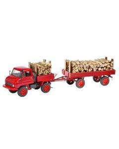 Unimog U411 mit Anhänger und Holzladung