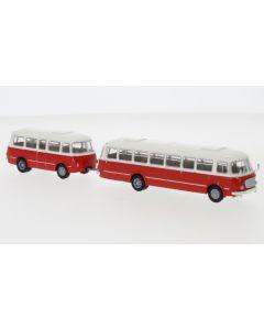 JZS Jelcz 043 Bus mit P-01 Anhänger, weiss/rot, 1964