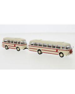 JZS Jelcz 043 Bus mit P-01 Anhänger, hellbeige/rot, 1964