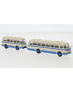 JZS Jelcz 043 Bus mit P-01 Anhänger, hellbeige/blau, 1964