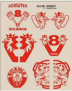 LKW-Dekor für Scania (rot) (5,5 x 6,8 cm)