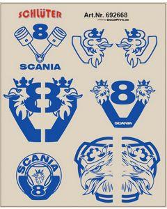 LKW-Dekor für Scania (blau) (5,5 x 6,8 cm)