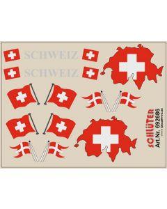 Flaggen-Dekore für Trailer (Schweiz) (6,2 x 4,7 cm)