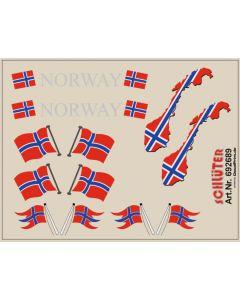 Flaggen-Dekore für Trailer (Norwegen) (6,2 x 4,7 cm)