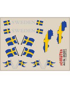 Flaggen-Dekore für Trailer (Schweden) (6,2 x 4,7 cm)