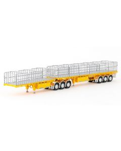 MaxiTRANS B Double Flat Trailer Set in Yellow
